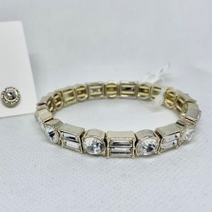 Silver Ton Stretch Stud Bracelet